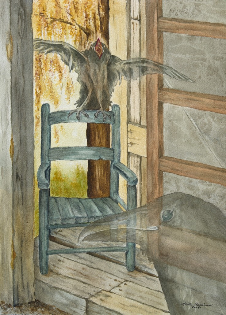 "Allegorical painting of a tiny cottage in the country, a watercolor of an old woman who used to live there and always fed the ravens. She's died and thus they are ""lost."" The baby knows no different home than this one. Mother raven tries to coax her baby to follow her into death, yet the baby lingers; half in this world, half in mama's world."
