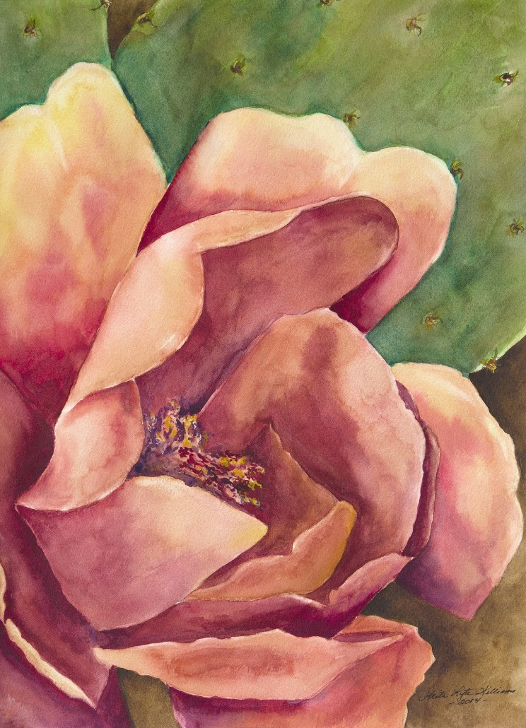 Watercolor of a salmon colored cactus bloom and paddle leaf behind.