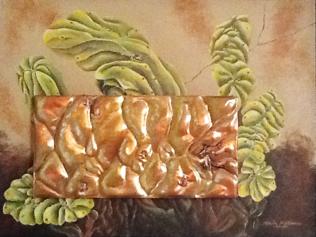 "Acrylic painting of ""grotesque"" succulent with detailed image worked in copper repousse and applied on top of canvas."